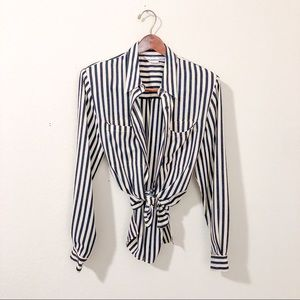 Vintage Women's Silky Collared Blouse